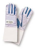 Перчатка фехтовальная моющаяся PBT серо-синяя