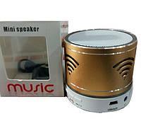 Портативная акустическая система золотая Mini Speaker MUSIC