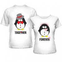 Футболки парные для влюбленных с пингвинами