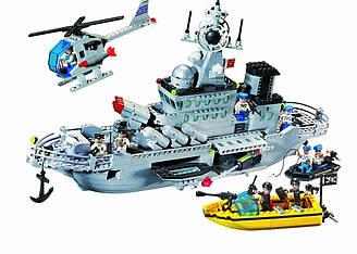 Конструктор BRICK 821 Военный корабль, 843 детали