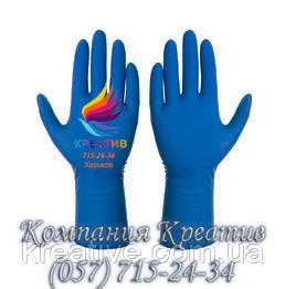 Перчатки хозяйственные, латексные плотные синие (от 50 шт.)