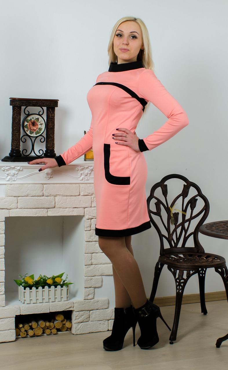 Платье трикотажное персик