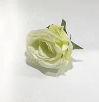 Головка розы 5см _бело-салатовая