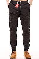 Брюки летние мужские карго YSTB черные, зауженные с карманами (с манжетами, Cargo)