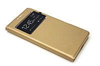 Кожаный чехол книжка для Microsoft Lumia 950XL золотистый