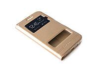 Шкіряний чохол книжка для Samsung Galaxy J7 золотистий, фото 1