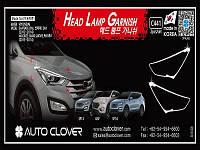 Хром накладки на передние фары на Хьюндай Санта-Фе с 2013> (хром пластик) Корея