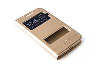 Кожаный чехол книжка для Samsung Galaxy Core Prime G360 / G361H золотистый, фото 1