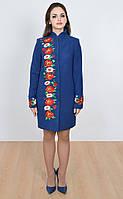 Кашемировое пальто модного синего цвета, украшенное цветочной вышивкой , фото 1
