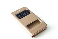 Кожаный чехол книжка для Samsung Galaxy J2 Duos J200 золотистый