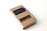 Шкіряний чохол книжка для Samsung Galaxy J1 Ace Duos моделі j110 золотистий, фото 1