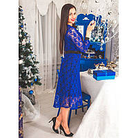 Коктельное платье из кружева  0219 синий, фото 1