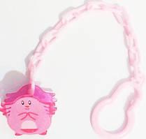 Цепочка (держатель) для пустышки (соски) с клипсой Пузя, ТМ little Timmy, Розовый