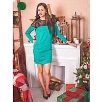 Платье из французкого трикотажа  0221 бирюзовый, фото 1