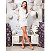 Платье из ангоры с гепюровыми вставками  0225 белый