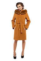 Пальто зимнее женское кашемировое M-152-22-Z-M горчица