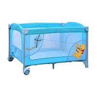 Детский манеж Винни Пух, 2 колеса с тормозом, боковой карман, голубой, Bambi A 03-8 HN