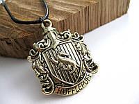 Герб Значок Хаффлпафф из Гарри Поттера Кулон на цепочке (Слизерин, Гриффиндор, Когтевран, Пуффендуй)