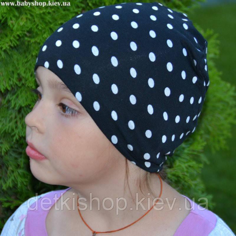 Детские шапочки Kinder Comfort (чёрные в горошек)