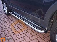 Opel Antara 2007+ гг. Боковые площадки Premium (2 шт., нерж.) 42 мм