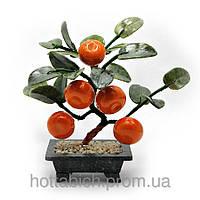 Дерево мандарин 5 плодов на каменной подставке