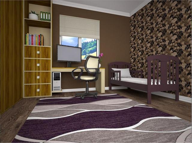 Кровать детская Юниор цвет Махонь в интерьере.