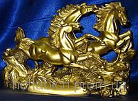 Сувенир Кони 3 шт каменная крошка желтые