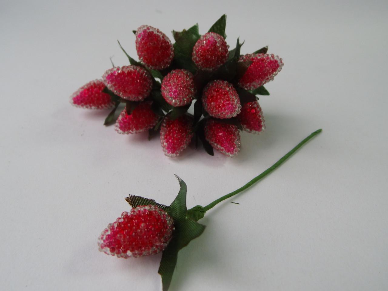 Ягода малина на дротику червона 25*15 мм