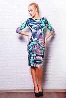 Женское платье по колено с французского трикотажа