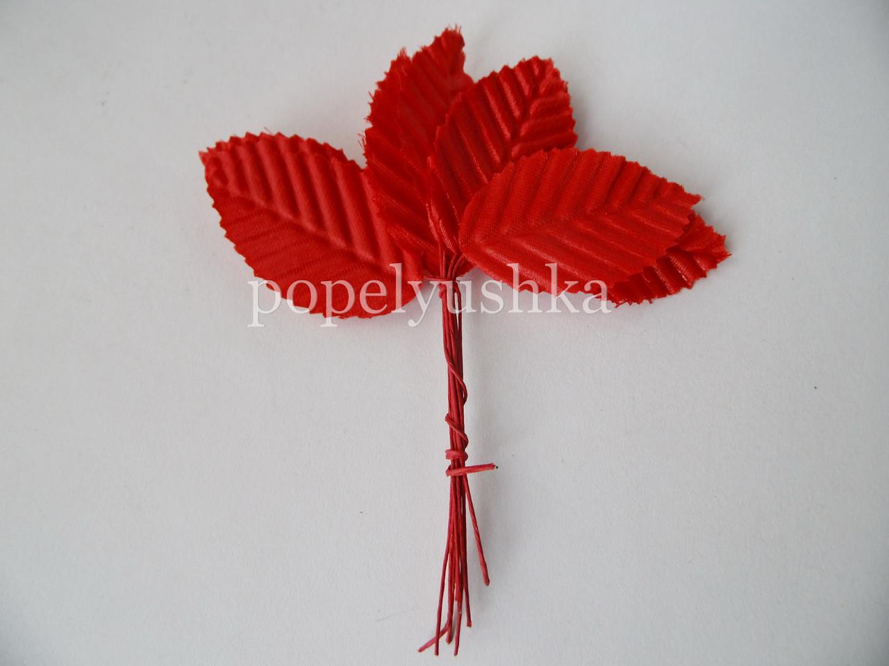 Листочки тканинні червоні 3*5 см