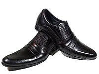 Туфли мужские классические  натуральная кожа черные на резинке (АВА 23), фото 1