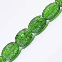 """Бусины """"Битое Стекло"""" Овальные, Цвет: Зеленый A5, Размер: 11х8мм, Отверстие 1.5мм, около 70шт/нить, (УТ0027303)"""