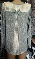 Женская кофта с бантиком и гипюром