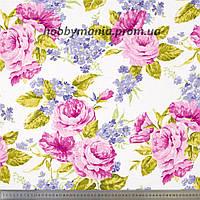 Крупные розы, белый, розовый. Веранда. Ткань с розами. Хлопок. Ткань для пэчворка. FLO-43. Крупный принт