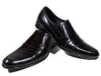 Туфли мужские классические  натуральная кожа черные на резинке (АВА 24)