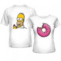 Парные футболки для влюблённых Гомер и пончик