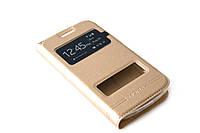 Кожаный чехол книжка для Samsung Galaxy Star Advance Duos G350 золотистый, фото 1