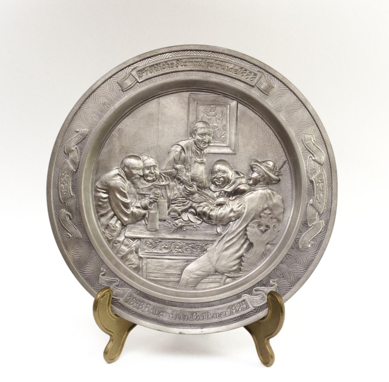 Тарелка коллекционная, олово, Германия, Eduard von Grutzner