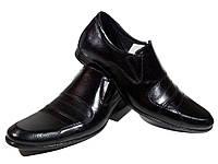 Туфли мужские классические  натуральная кожа черные на резинке (АВА 31), фото 1