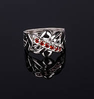 Серебряное кольцо головоломка с Гранатом от Wickerring