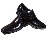 Туфли мужские классические  натуральная кожа черные на резинке (АВА 34)