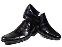 Туфли мужские классические  натуральная кожа черные на резинке (АВА 35)
