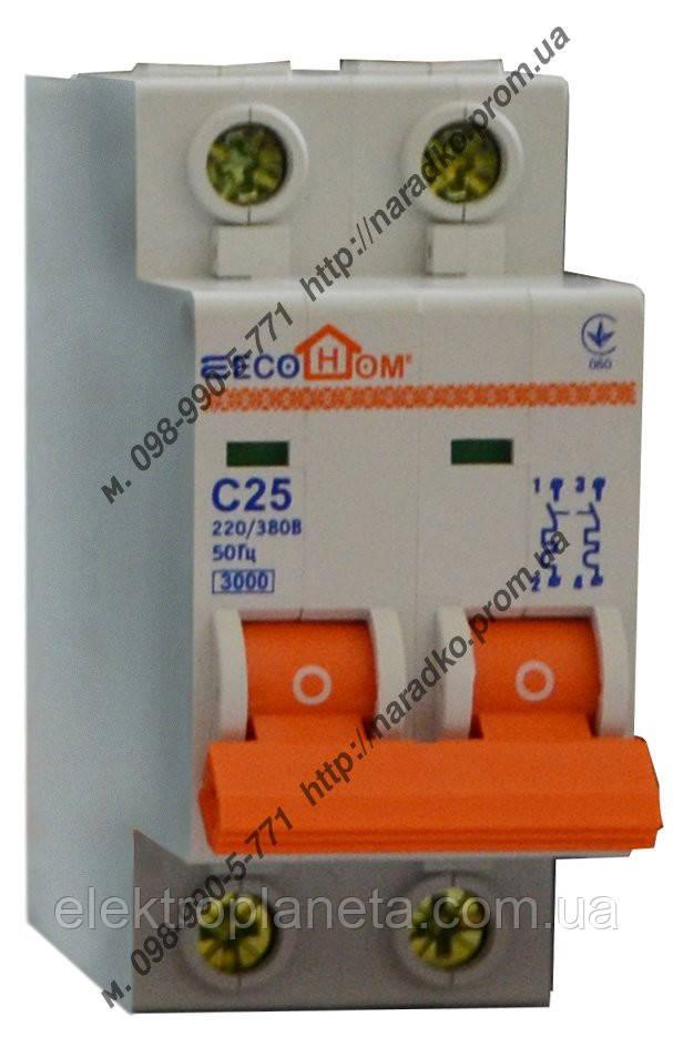 Автоматичний вимикач ECO 2p 25A ECOHOME