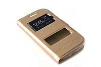 Кожаный чехол книжка для Samsung Galaxy Star Plus Duos S7262 золотистый