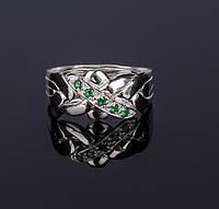 Серебряное кольцо головоломка с изумрудом от  Wickerring, фото 1