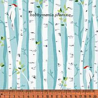 Березки, голубой, белый. Волшебный лес. Ткань хлопковая. FA-8 Детские ткани