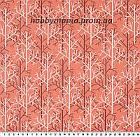 Деревья, оранжевый, серый, белый. Волшебный лес. Ткань хлопковая. FA-9 Детские ткани