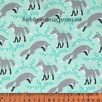 Лисички, голубой, серый. Волшебный лес. Ткань хлопковая. FA-10. Детские ткани