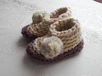 Очень теплые детские тапочки вязанные