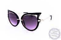 Модные женские солнцезащитные очки Кошачий глаз - Черные - 228, фото 1